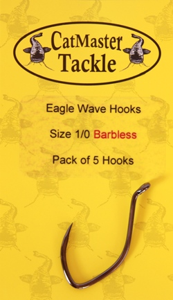 CatMaster Tackle Eagle Wave Hooks Barbless Size 1/0 (pack of 5 Hooks)
