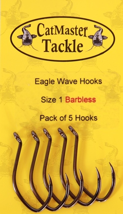 CatMaster Tackle Eagle Wave Hooks Barbless Size 2 & 1 (Pack of 5 Hooks)